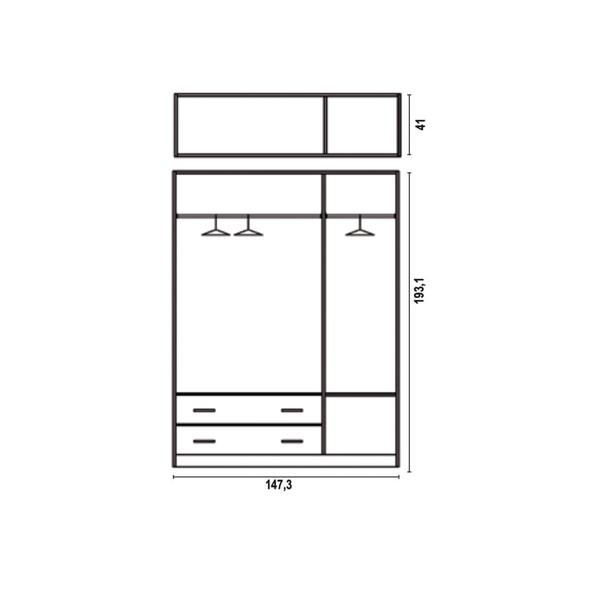 Armario 3 puertas con altillo Plus interior