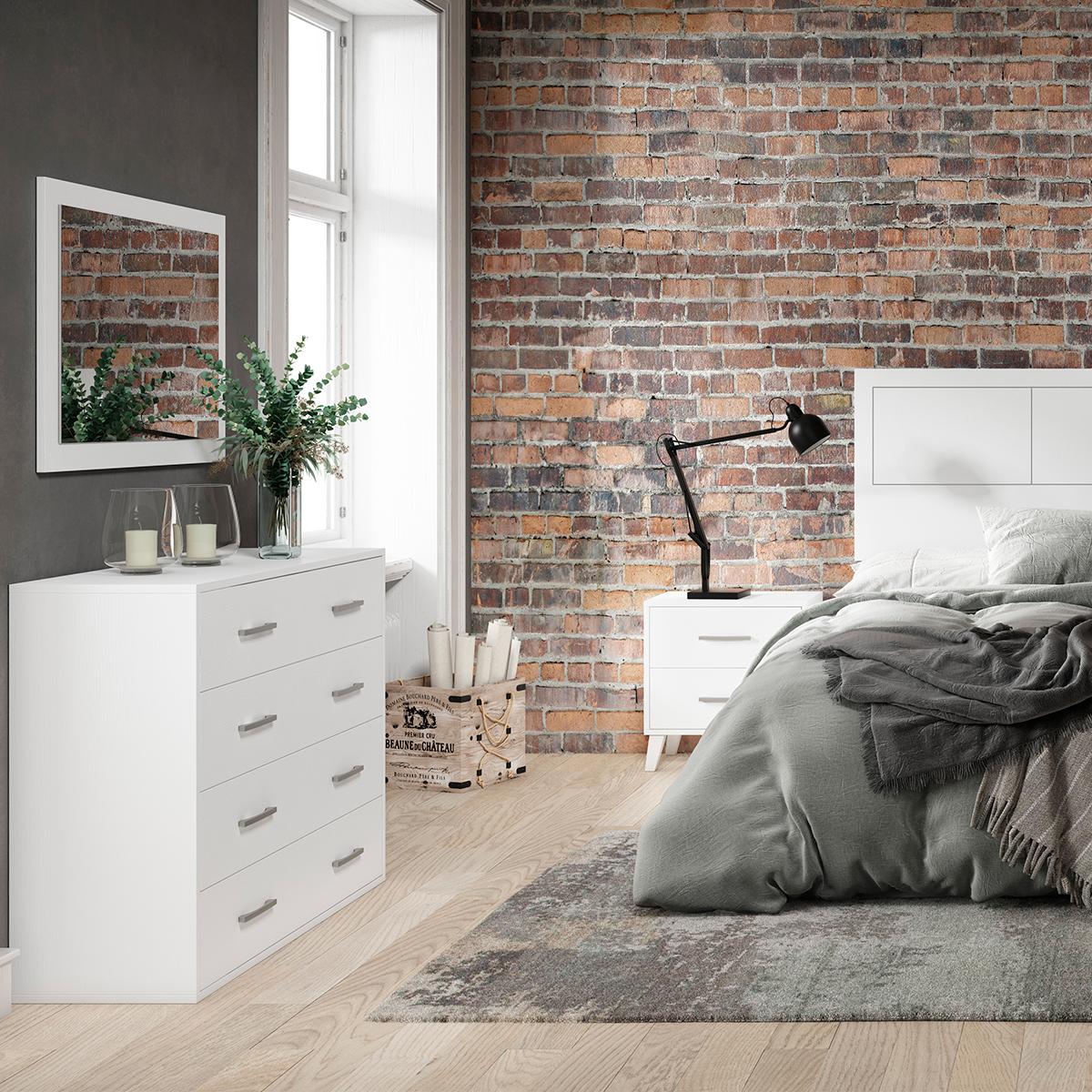 Dormitorio de matrimonio New Plus 01 comoda y espejo