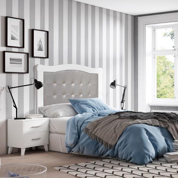 Dormitorio de matrimonio New Plus 02 cabecero y 2 mesitas