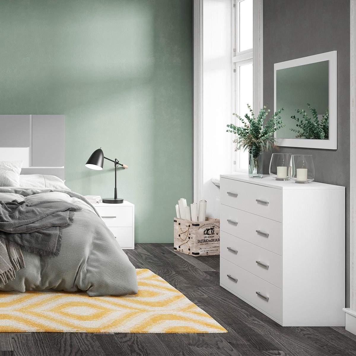 Dormitorio de matrimonio New Plus 03 comoda y espejo