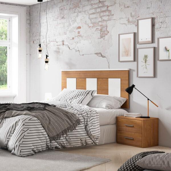 Dormitorio de matrimonio New Plus 04 cabecero y 2 mesitas