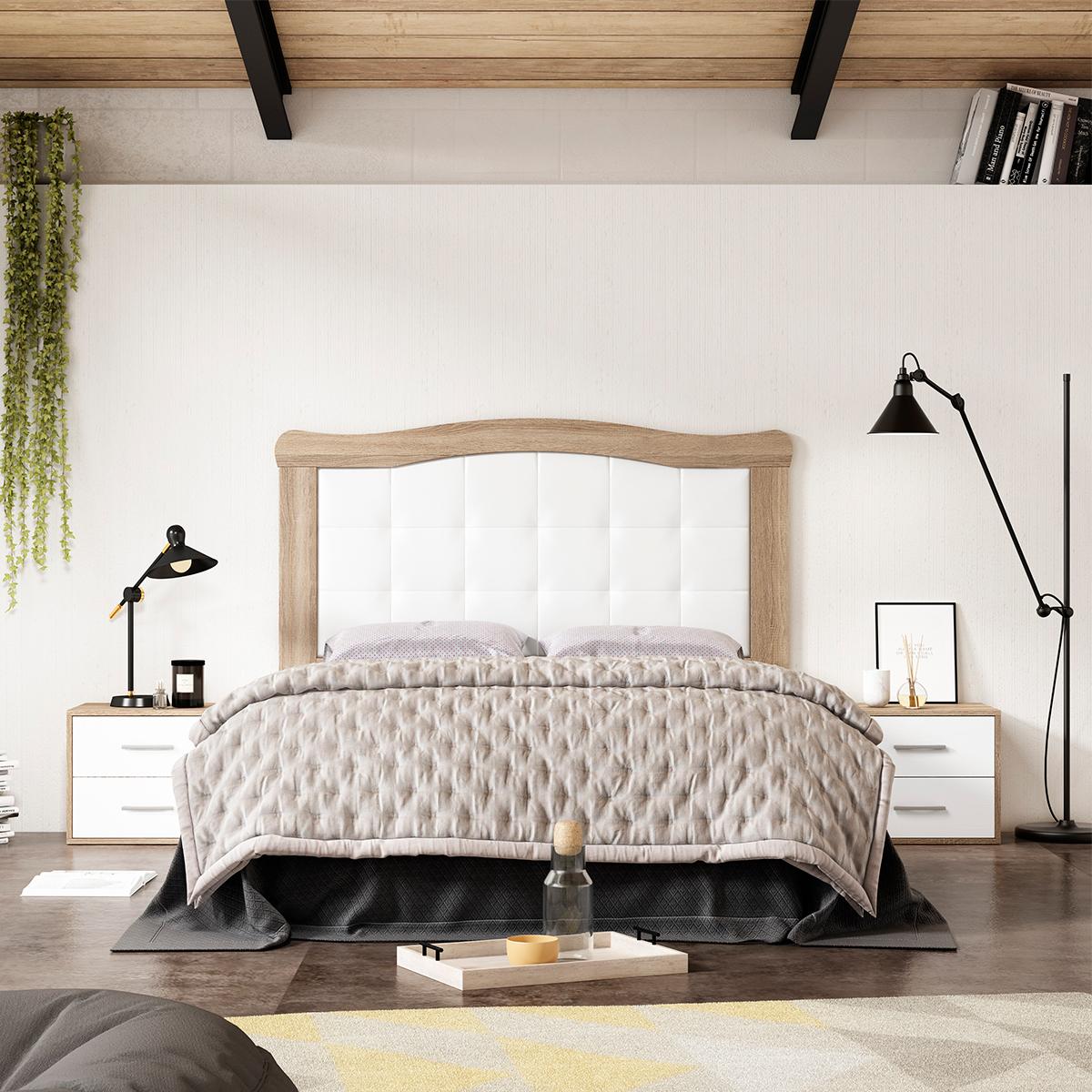 Dormitorio de matrimonio New Plus 07 cabecero y 2 mesitas