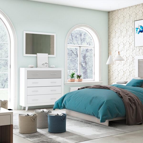 Dormitorio de matrimonio New Promo 06 comoda y espejo