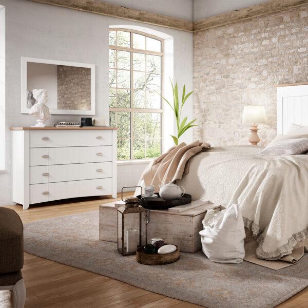 Dormitorio matrimonio Wind 1 comoda y espejo