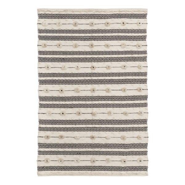 Alfombra beige-negro algodón, 200x140 cm