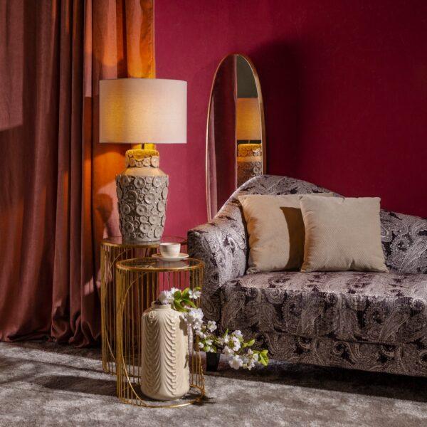 Lámpara de mesa taupe cerámica-tejido, 40x40x75 cm