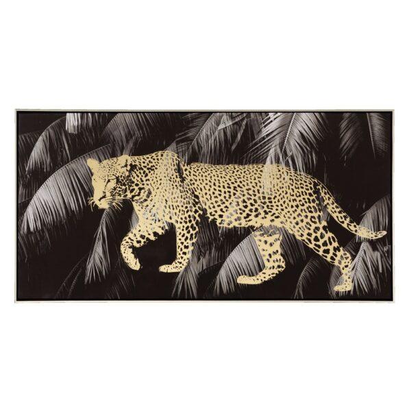 Cuadro impresión leopardo negro-oro, 120x4,5x80 cm