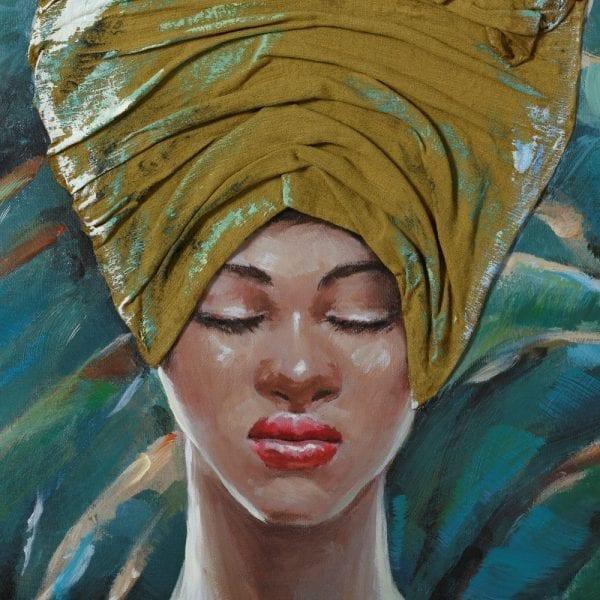Pintura africana azul-verde lienzo, 76x3,5x100 cm