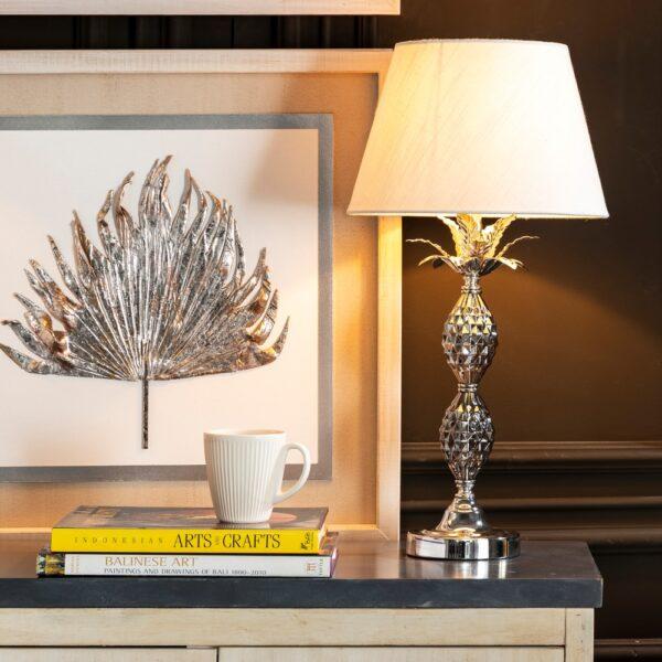 Lámpara de mesa (2 piezas) crema-plata, 30x30x58 cm
