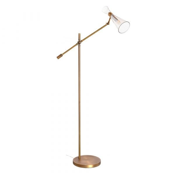 Lámpara de pie oro metal/cristal