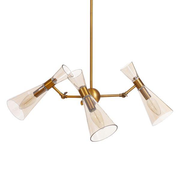 Lámpara de techo oro metal/cristal, 69x69x120 cm