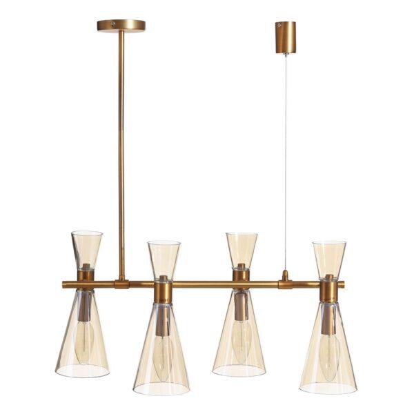 Lámpara de techo oro metal/cristal, 63x63x73,5 cm