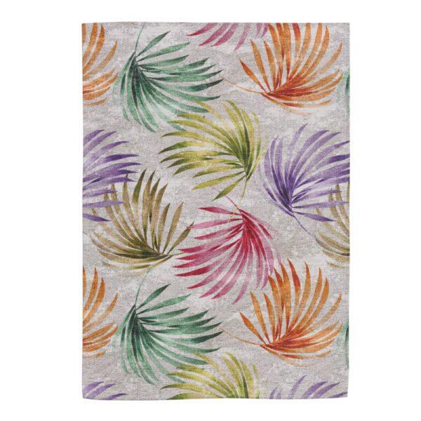 Alfombra hojas multicolor algodón, 200x300 cm