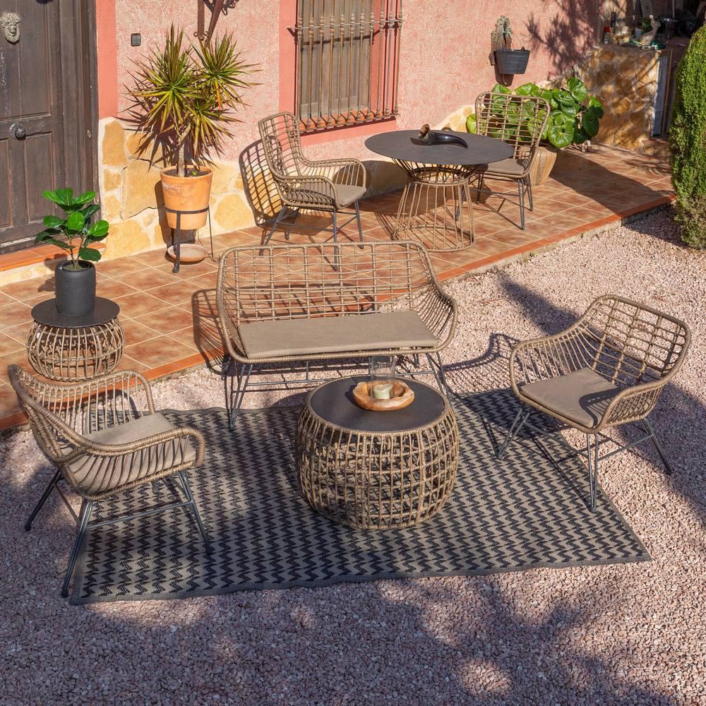 Sofá jardín 2 plazas Ariki, 121x62x76 cm