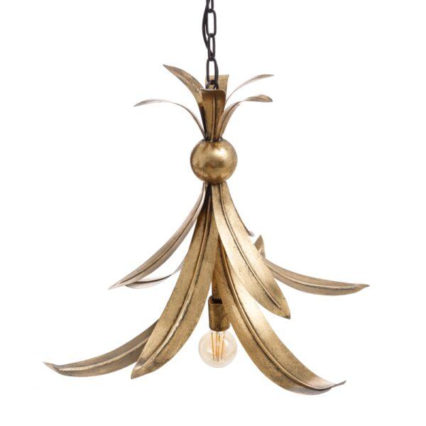 Lámpara de techo hojas oro metal, 65x65x51 cm