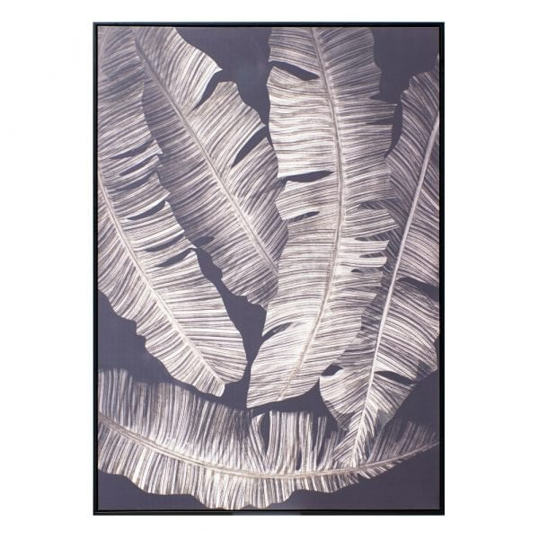 Cuadro impresión hojas negro-gris, 100x4,3x140 cm