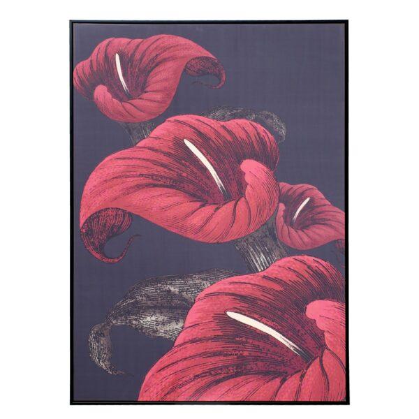 Cuadro impresión lirio rojo-negro, 100x4,3x140 cm