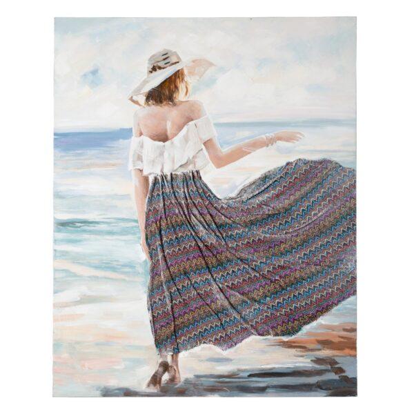 Pintura playa lienzo decoración, 120x3,8x120 cm