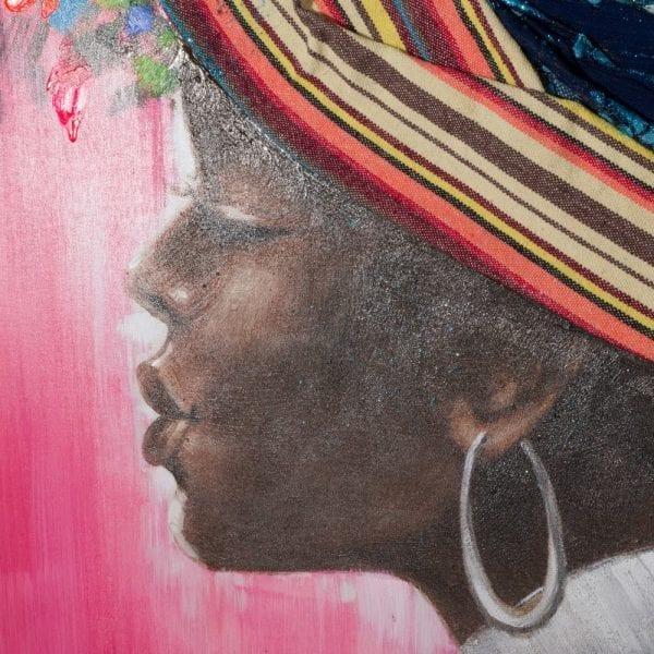 Pintura africana lienzo decoración, 120x3,8x120 cm