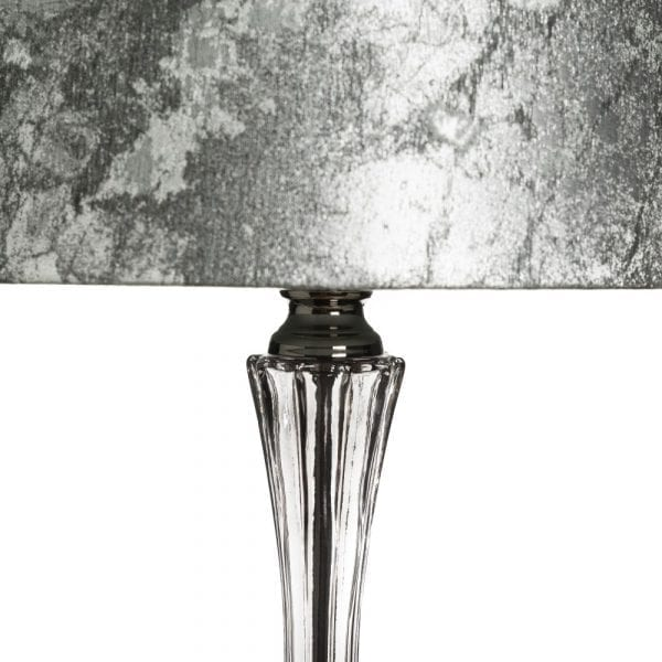 Lámpara de mesa gris-plata cristal-tejido, 35,5x35,5x70 cm