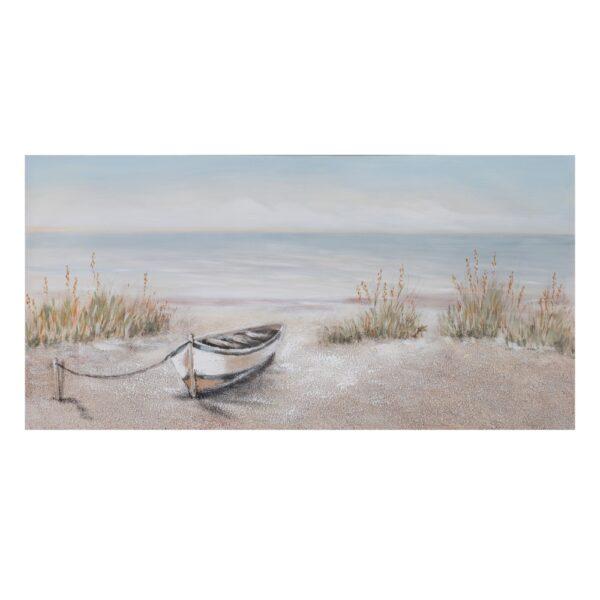 Pintura playa azul-crema lienzo, 140x2,8x70 cm