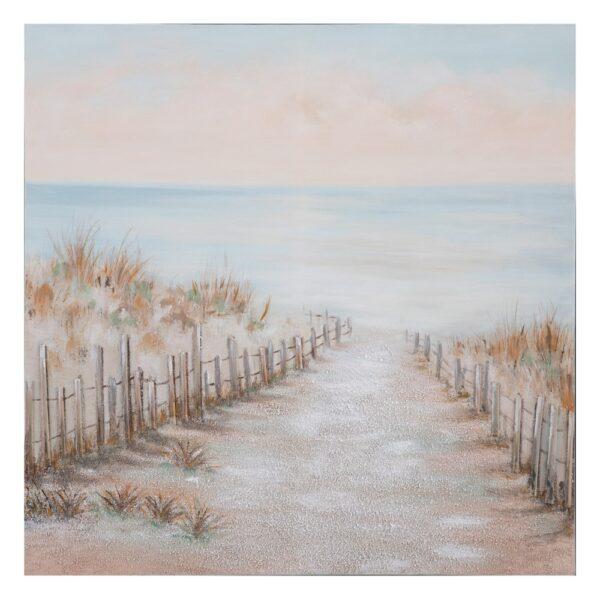 Pintura playa beige-azul lienzo, 100x2,8x100 cm