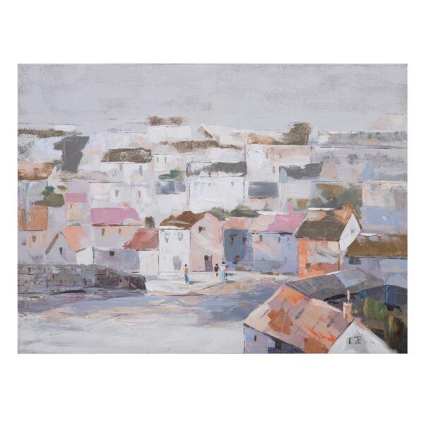 Pintura casas multicolor lienzo, 120x2,8x90 cm