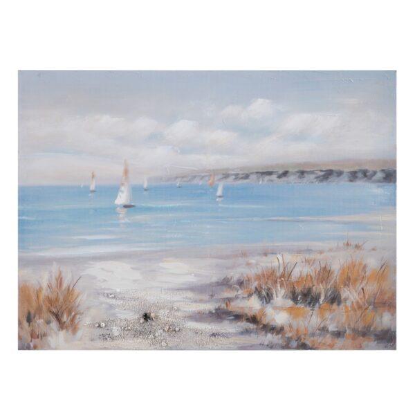 Pintura playa gris-azul lienzo, 120x2,8x90 cm