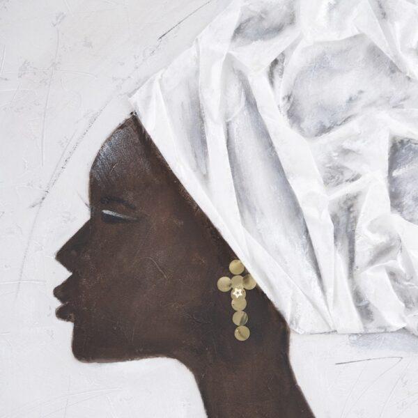 Pintura africana plata-marrón lienzo, 120x3,8x90 cm