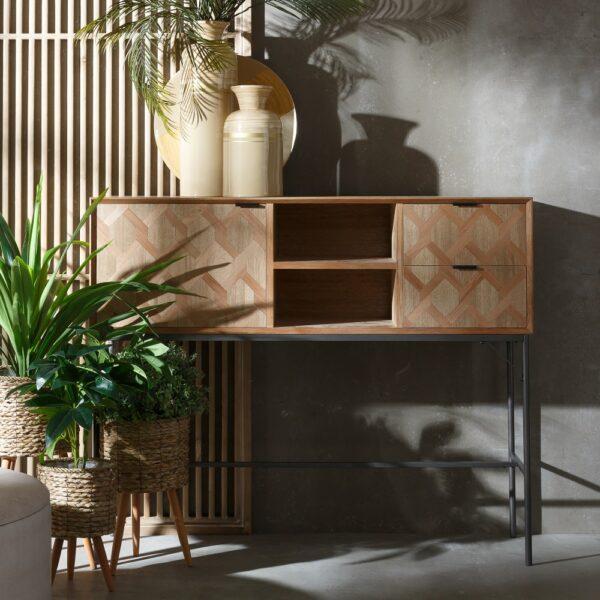 Aparador madera-metal Maxine, 130x40x107 cm