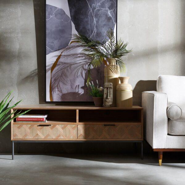 Bajo TV madera-metal Maxine, 140x44x55 cm