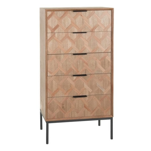 Cómoda madera-metal Maxine, 60x40x120 cm