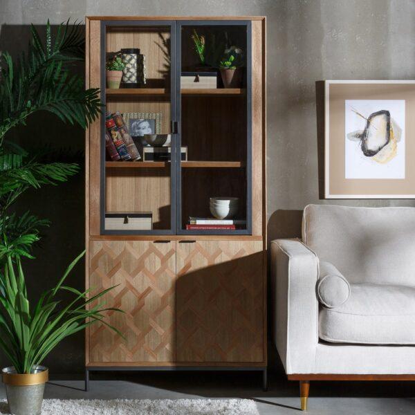 Vitrina madera-metal Maxine, 90x40x186 cm