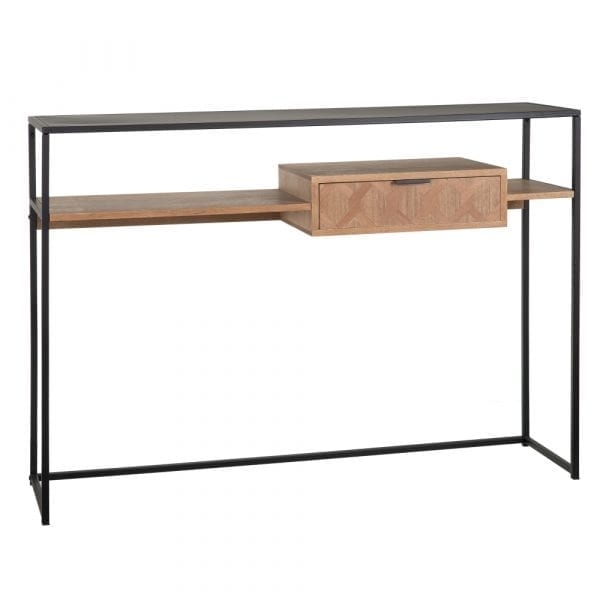 Consola madera-metal negro Maxine, 120x30x85 cm
