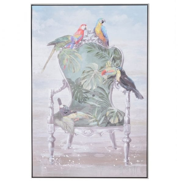Cuadro impresión papagayo lienzo, 80x4,5x120 cm
