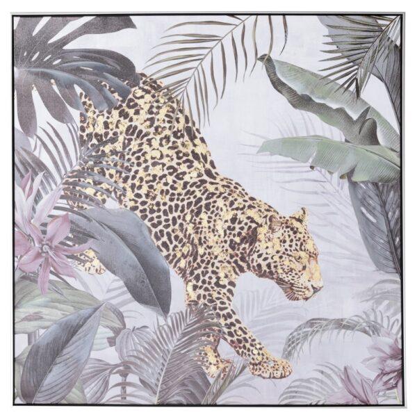 Cuadro impresión leopardo lienzo, 100x4,3x100 cm