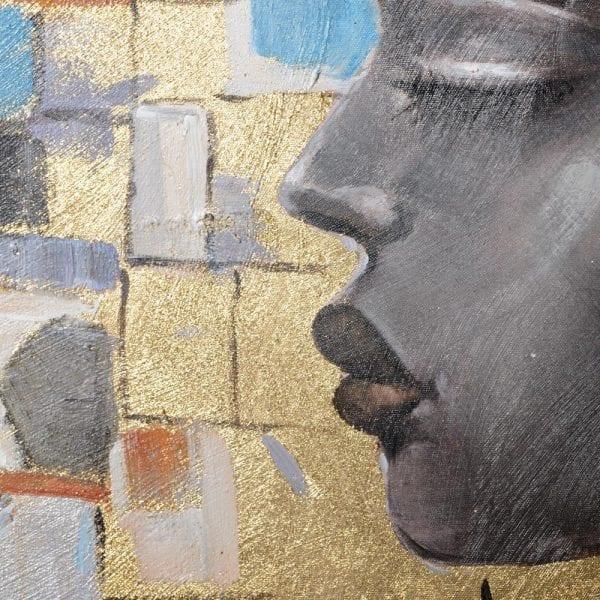 Pintura africano gris lienzo, 90x2,8x120 cm