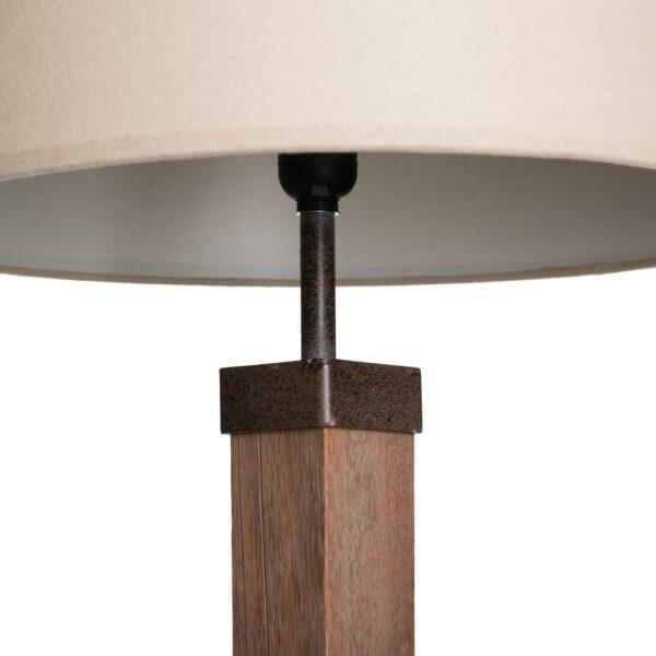 Lámpara de pie natural madera-tejido, 34x45x162 cm
