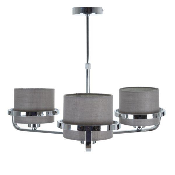 Lámpara de techo plata metal-tejido, 55x50x42 cm
