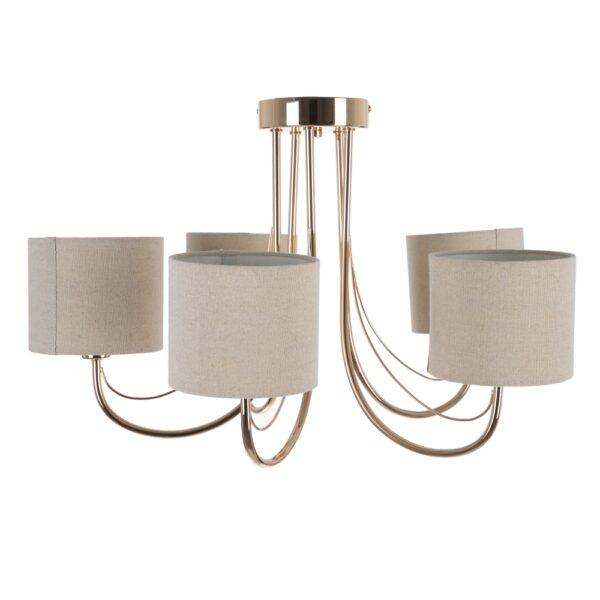 Lámpara de techo oro metal-tejido, 58x58x36 cm