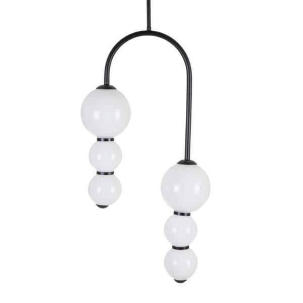 Lámpara de techo negro metal-cristal, 35x15x90 cm