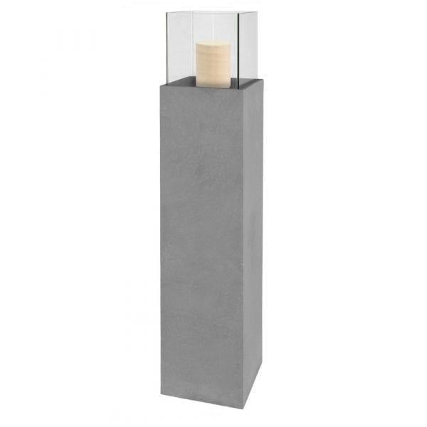Columna portavelas fibrocerámica gris, 25x25x124 cm