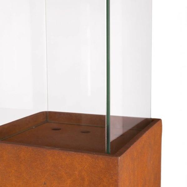 Columna portavelas fibrocerámica óxido, 25x25x124 cm