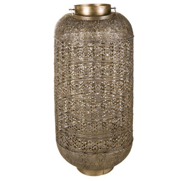 Farol exterior metal oro, 46x46x105 cm