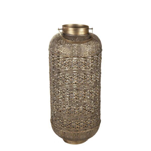 Farol exterior metal oro, 46x46x86 cm