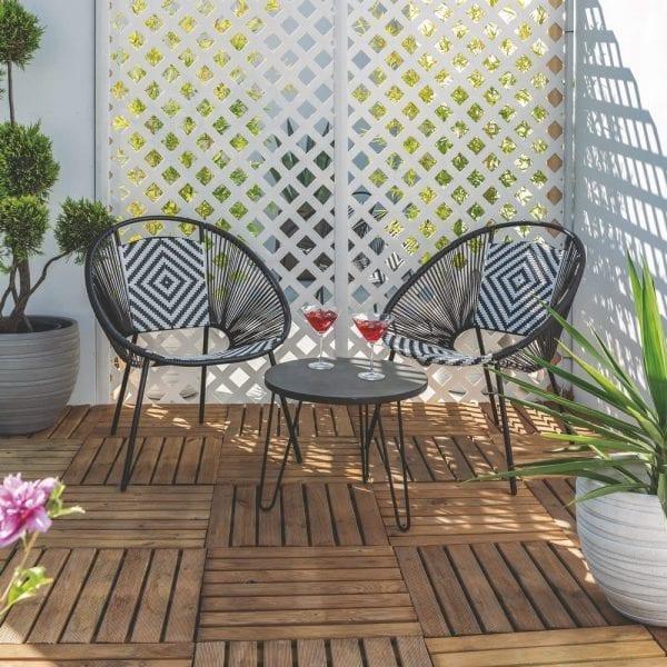 Sillón jardín Tulum blanco-negro ratán PE, 70x67x82 cm