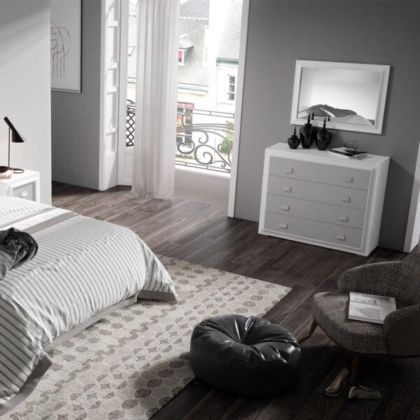 Dormitorio de matrimonio New Mito comoda y espejo