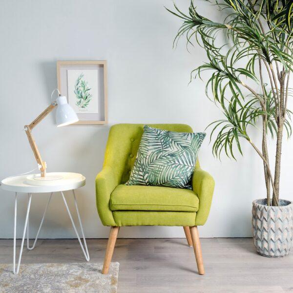 Sillon tejido-madera, 67x67x81,5 cm - Verde moderno
