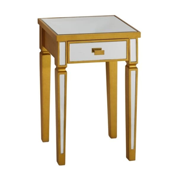 Consola 1 cajón oro-plata DM-espejo