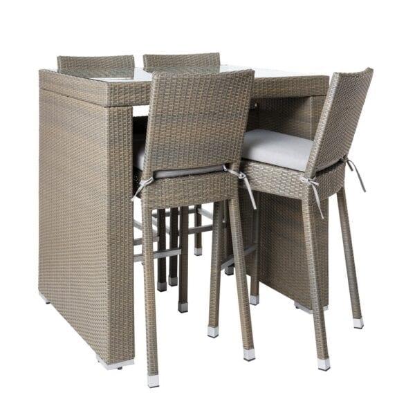Conjunto de jardín bar Marlene 4 pax con sillas, topo ratán